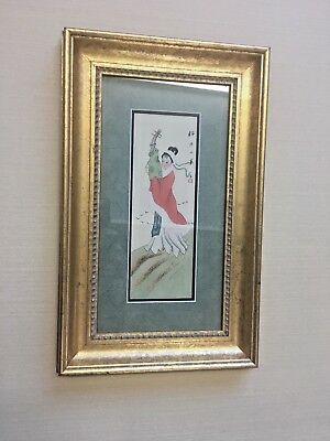 """Vintage Japanese WaterColor on Silk Paper -  Matted & Framed 11"""" x 17.5"""""""