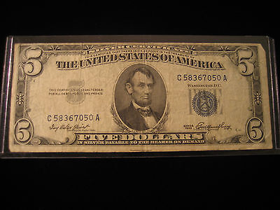 1953 Five Dollar Bill $5 Blue Seal United States Note