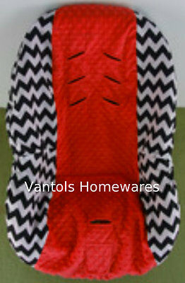 Chevron Black Red Minky Dot Baby Toddler Car Seat Cover - Fits Convertible