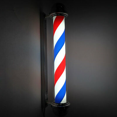 "Barber Shop Sign 36"" Red Blue White Rotating Pole Light Stripe LED Salon US Plug"