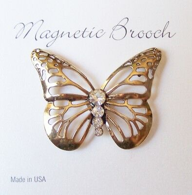 Magnetic Brooch Clip Clasp Pin Gold Tone Butterfly Dressy Scarves Shawl
