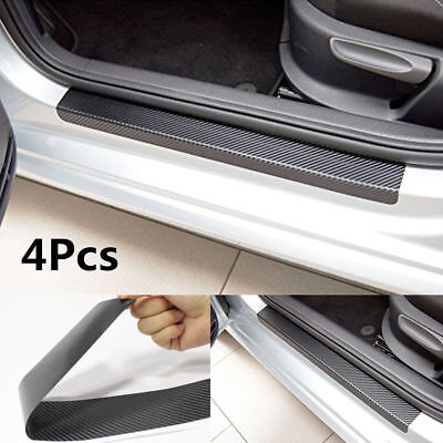 4Pcs Black Carbon Fiber Car Door Plate Sill Scuff Cover Anti Scratch Sticker CN