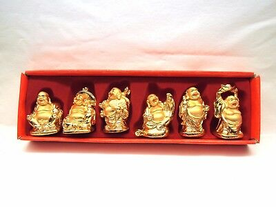 6pcs Shiny Gold Feng Shui Laughing Buddhas Statues Figurines-Home Decorations