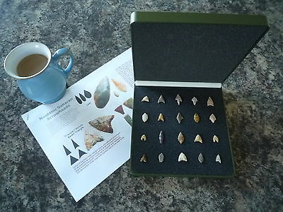20 x Quality Miniature Neolithic Arrowheads in Display Case - 4000BC - (W027)