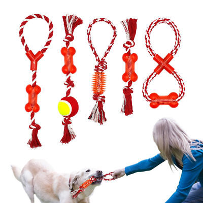 Cotton Rope Braided Dog Toys Interactive Fetch Toys Pet Chew Ball Teeth Cleaning