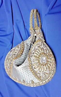 "NEW  Exotic ""Fortune Cookie"" Beaded & Sequined Handbag"