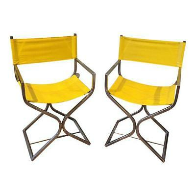 Virtue Brothers Yellow Leather Chrome Directors Chairs A Pair