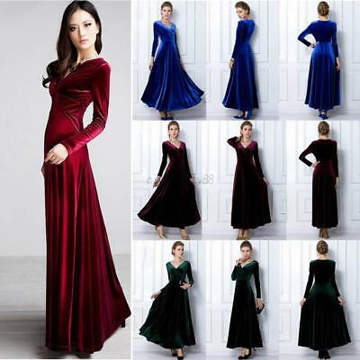 US Women Velvet V Neck Long Sleeve Evening Party Cocktail Bridesmaid Long Dress