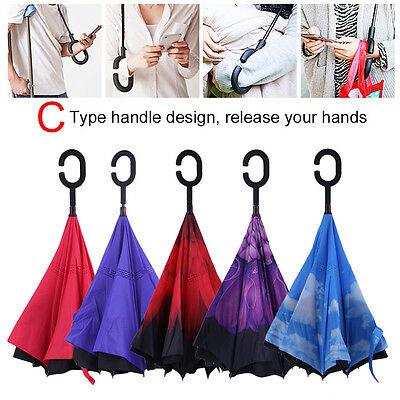 Modern Upside Down Reverse Umbrella C-Handle Double Layer Inside-Out Color M6