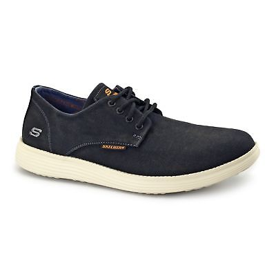 ac93128de239 Skechers RELAXED FIT  STATUS-BORGES Mens Canvas Lace Up Casual Trainers  Black