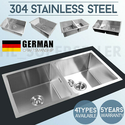 Handmade Kitchen Sink Under/Topmount Single Double Bowl 304 Stainless Steel NEW