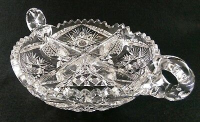 """Clear Cut Glass Divided Nappy Dish Two Handles Heavy Perfect! Hobstars Fans 7"""""""