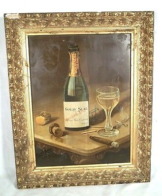 Antique Urbana Wine Company Tin Lithograph Advertising Sign In Original Frame