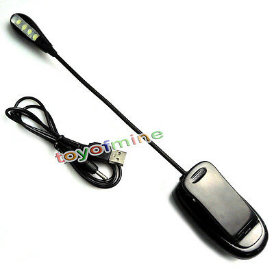 1pcs New Travel 4 Leds Clip on Flexible Rechargeable book read light + USB cable