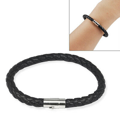 6mm Mens Genuine Leather Braided Wristband Bracelet Stainless Steel Clasp R9Q1