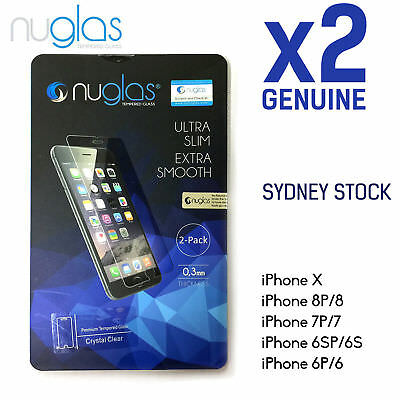 2x Genuine NUGLAS Tempered Glass Screen Protector Guard iPhone X 8 7 6 6S Plus