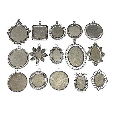 15x Assorted Jewelry Making Silver Cameo Alloy Tray Base Setting Charms Pendants
