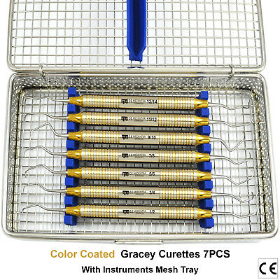 Dental Gracey Curettes Periodontal Root Planing Scalers Tooth Decay Cavity+Tray