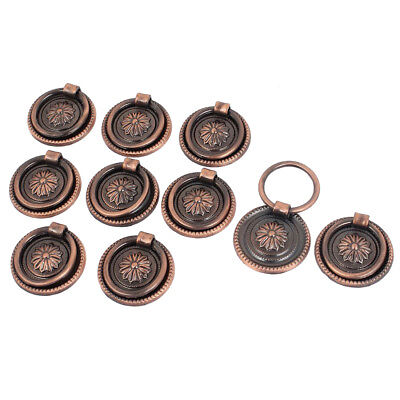 Cupboard Cabinet Drawer 30mm Dia Vintage Ring Pull Knob Handle 10 Pcs E3F2