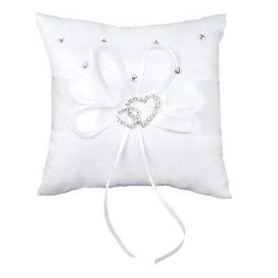Wedding Ring Pillow 15 x 15 cm White Double Heart Crystal Rhinestone H3B2