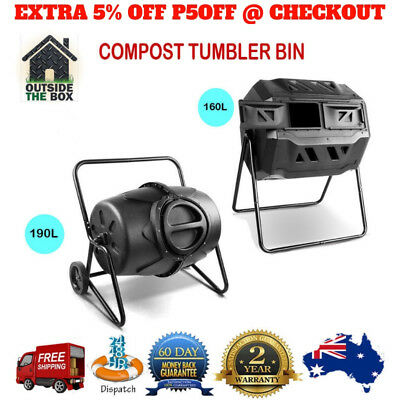2 SZ Portable Compost Tumbler Bin Garden Aerated Recycling Food Waste Composter
