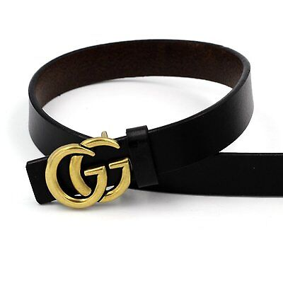 0.9″ Wide Womens Genuine Leather Thin Belts For Jeans With Fashion Letter Buckle