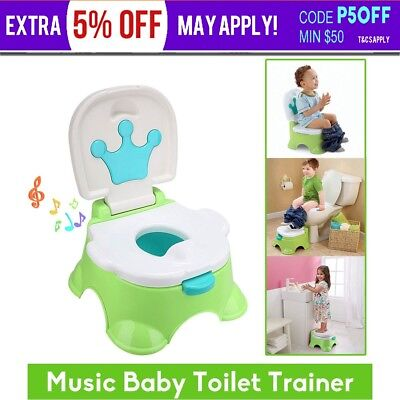 3 in 1 Baby Toilet Trainer Kid Music Potty Toddler Training Safety Seat Chair AU