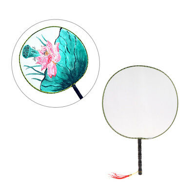 24cm Summer Elegant Round Hand Paddle Fan White Blank Cloth Kids Painting Toy