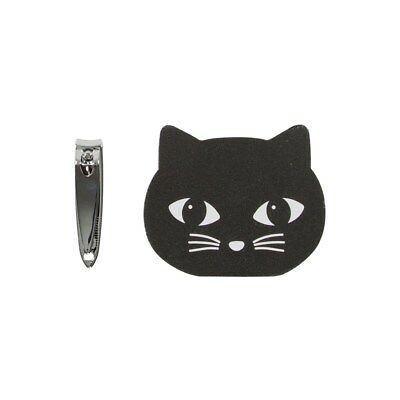 Black Cat Nail Buffer Clippers Set Cute Fun Whiskers Feline Sass & Belle Package