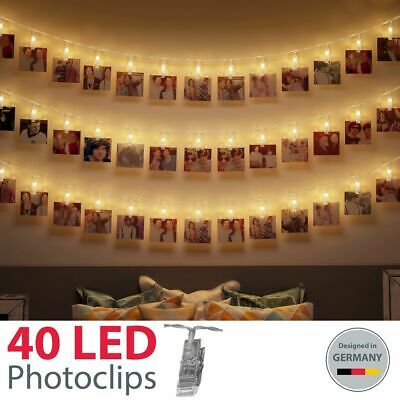 40 LED Foto-Clips Klammern Photo-Klipp String Light Lichterkette Stimmungs-Licht