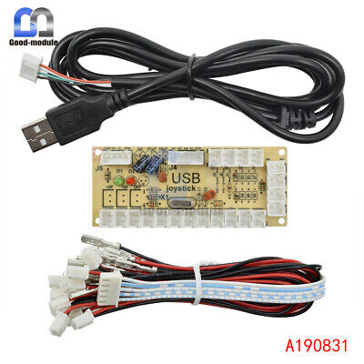 Zero Delay LED Arcade MAME Encoder USB To PC 5Pin Joystick PCB Board+Cables