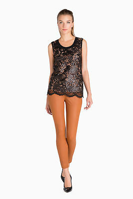 TWINSET Top Donna Pizzo Paillettes All Over Ampio Collo Fondo Smerlato JA62FN