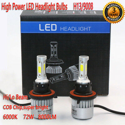 H13/9008 72W 8000LM LED Headlight Kit Bulbs Hi/Lo Beam 6000K White Lamp Auto Car