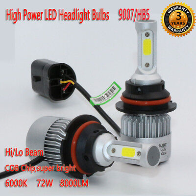 9007/HB5 72W 8000LM LED Headlight Kit Bulbs Hi/Lo Beam 6000K White Lamp Auto Car