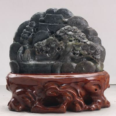 Exquisite 100% Natural DUSHAN Jade Hand Carved tree & Man Statue xx185