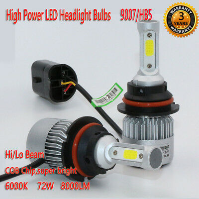 Pair 9007/HB5 72W 8000LM LED Headlight Kit Bulb Hi/Lo Beam 6000K Power Lamp Auto