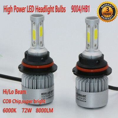 2pcs 9004/HB1 72W 8000LM LED Headlight Kit Bulb Hi/Lo Beam 6000K High Power Lamp
