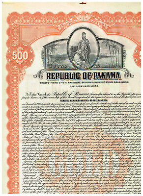 Republic of Panama, signed but unnumbered, 500 $ bond, nice and rare