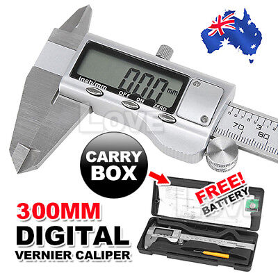 300mm Vernier Caliper Digital LCD Gauge Electronic Stainless Steel Micrometer AU