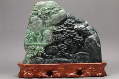 Exquisite 100% Natural DUSHAN Jade Hand Carved tree & Man Statue xd12