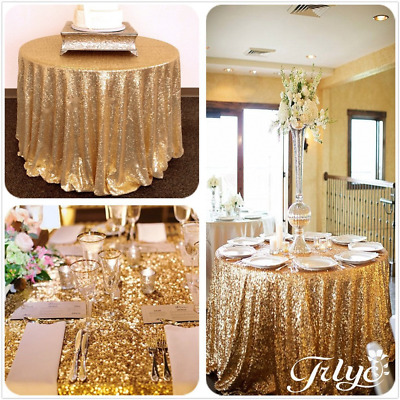 TRLYC Round Sparkly Gold Sequin Table Cloth 72inch Kitchen Dining Bar Decoration