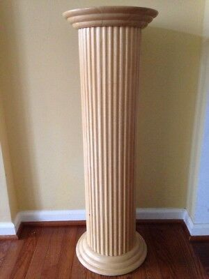 """36""""  TALL HEAVY SOLID WOOD COLUMN FLUTED PEDESTAL PLANT DISPLAY STAND Home Decor"""