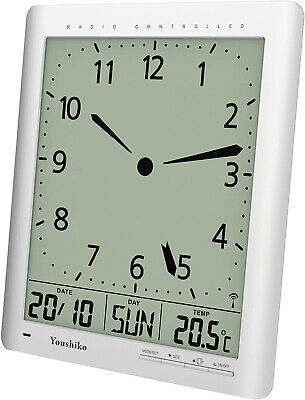 Youshiko Radio Control ( UK Version ) Digital Analog Style Silent Wall Clock