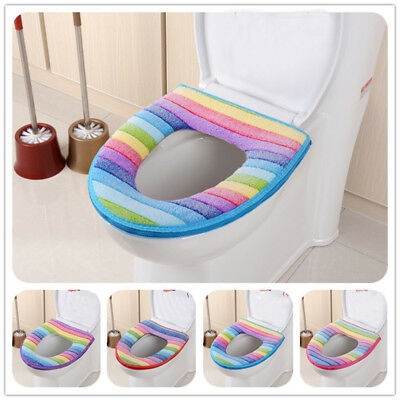 1PC Bathroom Toilet Soft Warmer Seat Close Stool Washable Lid Top Cover Pad