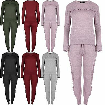 New Ladies Crushed Velvet Look Ruffle Frill Jogging 2 Piece Tracksuit Set 8-22