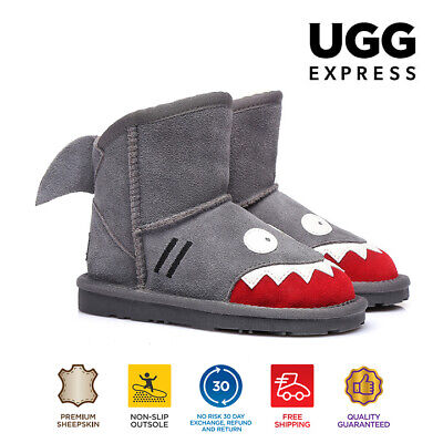 UGG Kids Shark Deluxe Australian Sheepskin Boots in Grey, Water Resistant