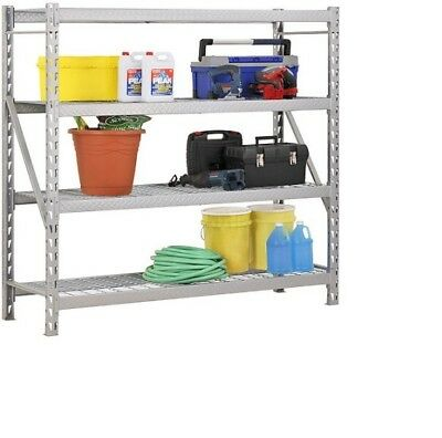"""Steel Welded Adjustable Storage Rack 77""""W x 24""""D x 72""""H , Silver, up to 2000 lbs"""