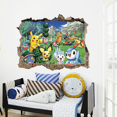 Pokemon Go Pikachu Mural Wall Decals Sticker Kid Home Room Decor Removable Vinyl