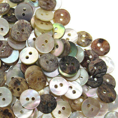 50/100/500 Mother of Pearl Real Shell Buttons 2-hole Sewing Buttons 10mm 3/8""