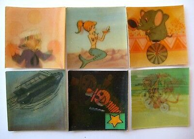 VINTAGE Cracker Jack Prize Lenticular TILT CARD Flicker Flasher Lot of 6 #1